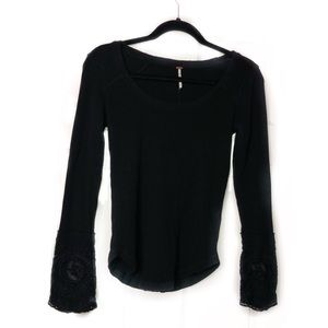Free People black thermal lace long sleeve top S